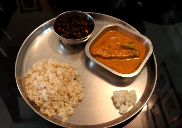 Mangalore Fish Curry, Red and Green Spinach, Coconut Chutney, Brown Rice