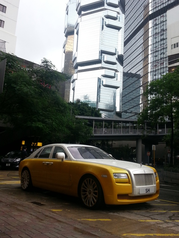 Stanley Ho's Rolls Royce in front of the Lippo Centre, HK